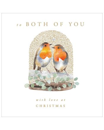 Woodmansterne Robins To Both of You Christmas Card