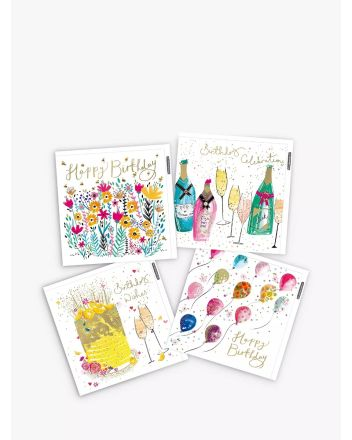Woodmansterne Pack of 4 Bubbles and Balloons Birthday Cards