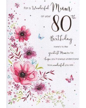 ICG Flowers Mum 80th Birthday Card