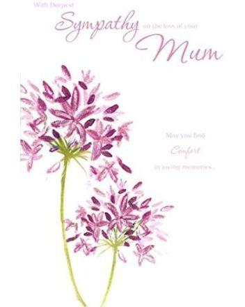 Beautiful Pink Flowers Loss of Mum Sympathy Card