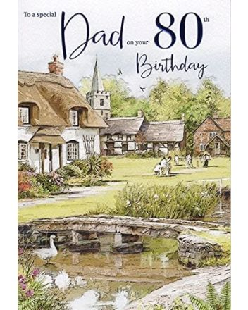 ICG Country Cottage Dad 80th Birthday Card