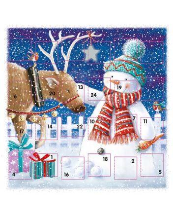 Ling Snowman and Reindeer Advent Calendar Card