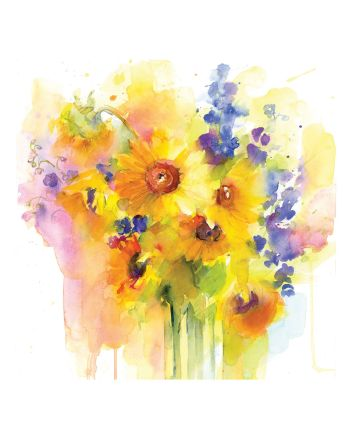 Tracks Sunflowers and Delphinium Greetings Card