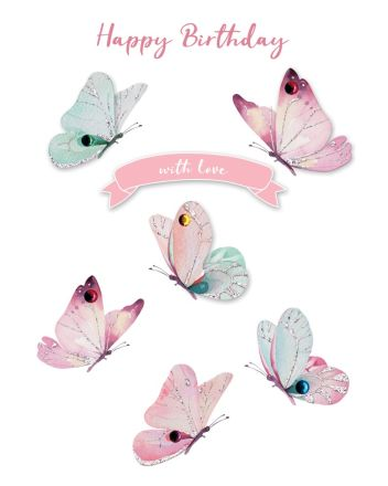 Second Nature Autograph Paper Butterflies Birthday Card