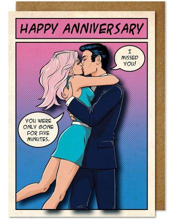 Tache Kissing Couple Anniversary Card