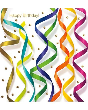 Lucilla Lavender Ribbons Streamers Happy Birthday Card