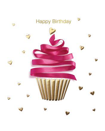 Lucilla Lavender Ribbons Cupcake Happy Birthday Card