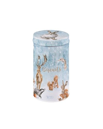 Wrendale Woodland Christmas Biscuit Tin Tube