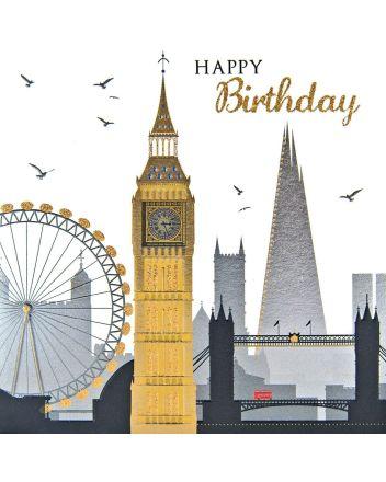 Tracks Sparkle London Cityscape Birthday Card