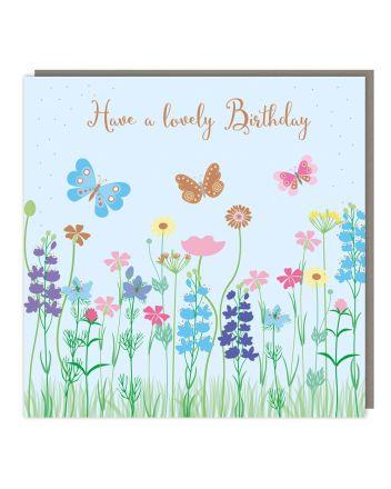 Tracks Butterfly Garden Birthday Card