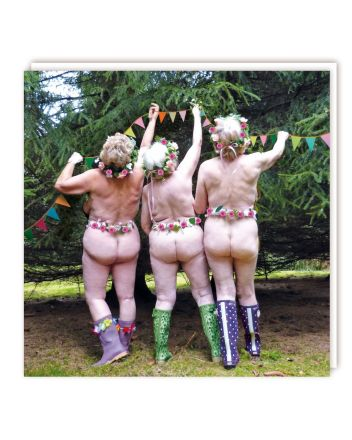 Tracks Naughty Nude Garden Party Greeting Card