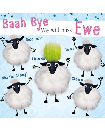 Fluff Sheep Goodbye and Good Luck Card
