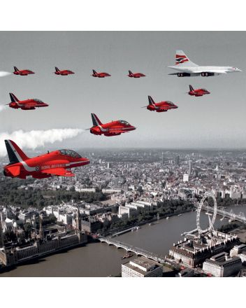 Concorde and Red Arrows Over London Greetings Card