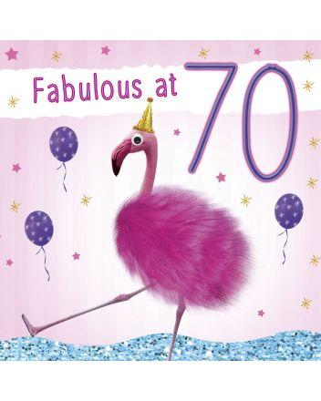 Tracks Fluff Flamingo Happy 70th Birthday Card