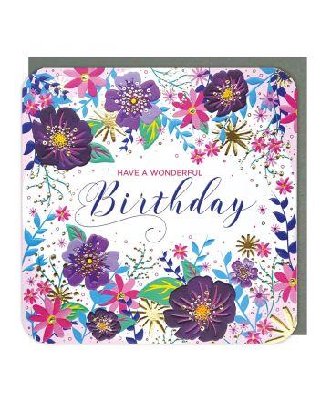 Tracks Sparkle Flowers Wonderful Birthday Card