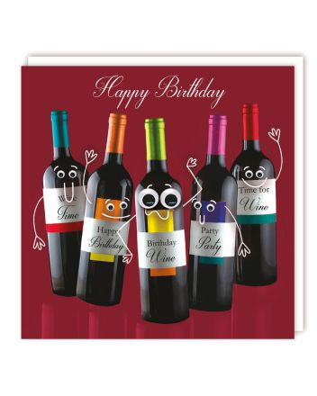 Googly Eyed Wine Bottles Birthday Card