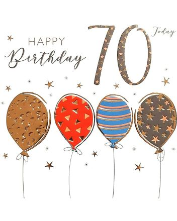 Tracks Balloons Happy 70th Birthday Card