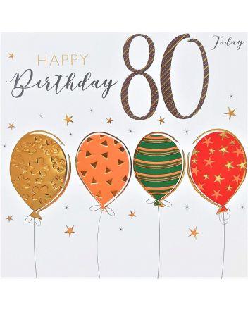 Tracks Balloons Happy 80th Birthday Card