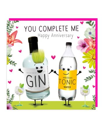 Tracks Fluff Gin and Tonic Anniversary Card