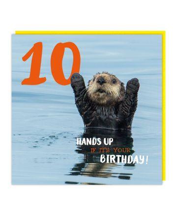 Tracks Otter Happy 10th Birthday Card