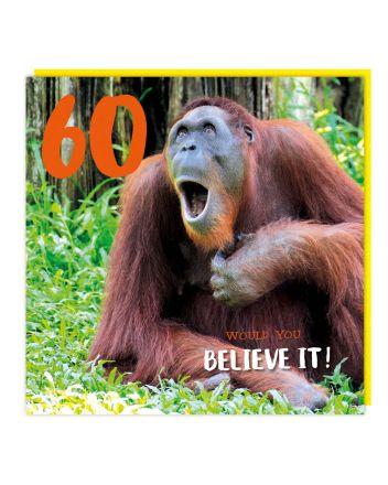Tracks Orangutan Happy 60th Birthday Card