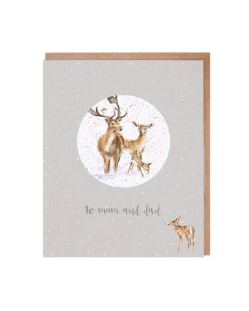 Wrendale Mum and Dad Christmas Decoration Card