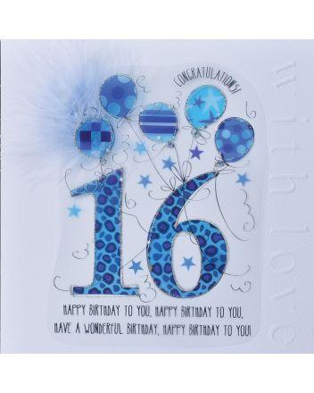 WJB Cloud 9 16th Birthday Card For Him