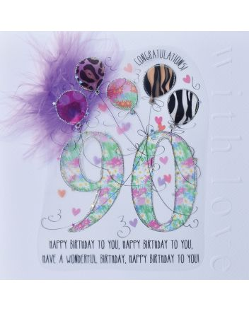 WJB Cloud 9 90th Birthday Card For Her