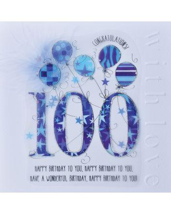 WJB Cloud 9 100th Birthday Card For Him