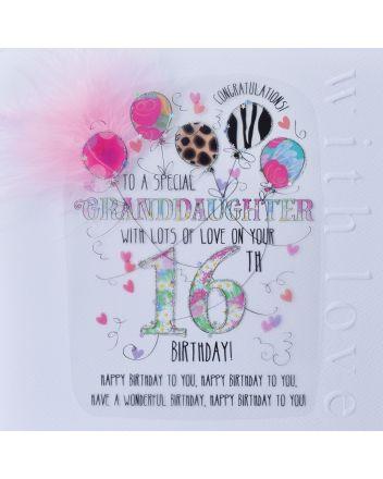 WJB Cloud 9 Granddaughter 16th Birthday Card
