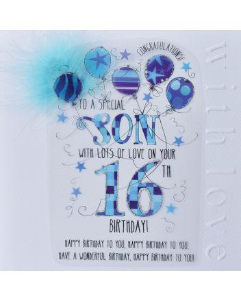 WJB Cloud 9 Son 16th Birthday Card