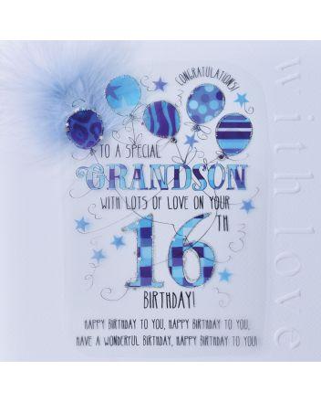 WJB Cloud 9 Grandson 16th Birthday Card