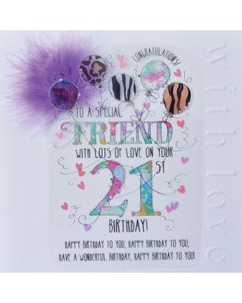 WJB Cloud 9 Friend 21st Birthday Card