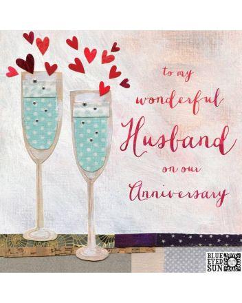 Blue Eyed Sun Wonderful Husband Anniversary Card