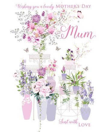 Nigel Quiney Purple Butterfly Garden Mothers Day Card