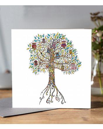 Doodleicious Owl Tree Greeting Card