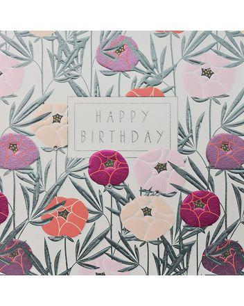 WJB Hey Fresco Pink Flowers Birthday Card
