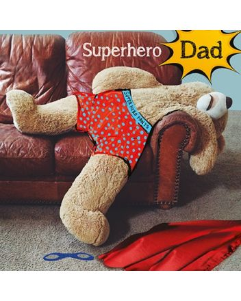 Paper Rose Teddy Bear Superhero Dad Fathers Day Card
