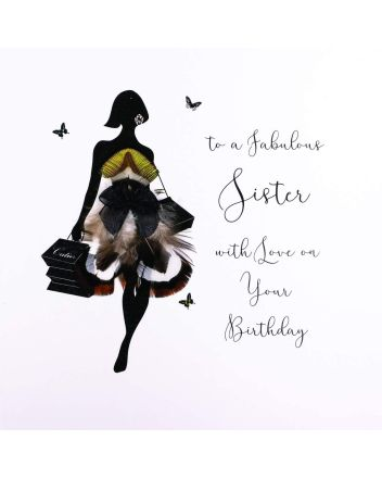 Five Dollar Shake Silhouette Fabulous Sister Birthday Card