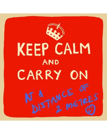 Keep Calm at a 2 Metre Distance Greeting Card