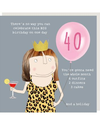 Rosie Made a Thing 6 Outfits 2 Dinners 3 Cakes 40th Birthday Card