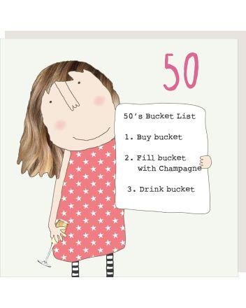 Rosie Made a Thing Bucket List 50th Birthday Card