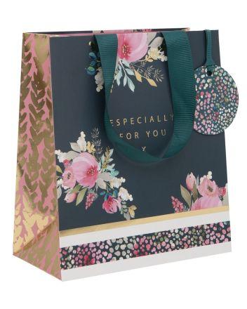 Glick Floral Teal Medium Gift Bag