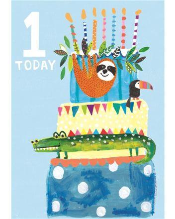 Paper Salad Blue Animal Cake 1st Birthday Card