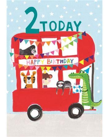 Paper Salad Animal Bus 2nd Birthday Card