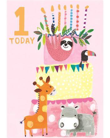 Paper Salad Pink Animal Cake 1st Birthday Card