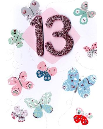 Second Nature Butterflies Happy 13th Birthday Card