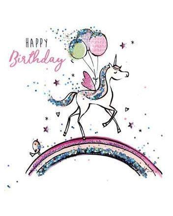Second Nature Sparkle Unicorn Happy Birthday Card