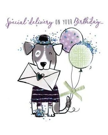 Second Nature Sparkle Dog Happy Birthday Card