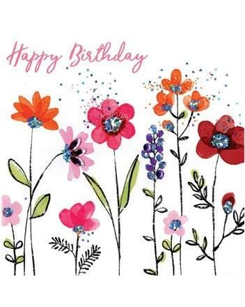 Second Nature Sparkle Flowers Happy Birthday Card
